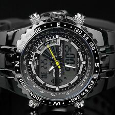 INFANTRY Mens Digital Quartz  Chronograph Wrist Watch Aviator Army Black Rubber