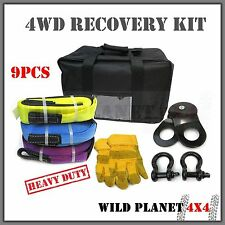 4WD Recovery Kit Heavy Duty Nylon Snatch Straps Bow Shackles Pulley Block Bag