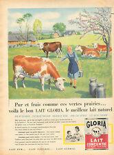 Publicité 1960  LAIT GLORIA concentré non sucré non écrémé