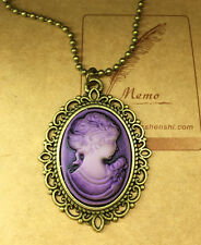 1pcs Fashion Retro Beauty Head Goddess Cameo Charm Alloy Lady Necklace purple @2