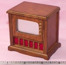 Dollhouse Miniature TV Set Television Console Vintage Style Handley Minis 1:12