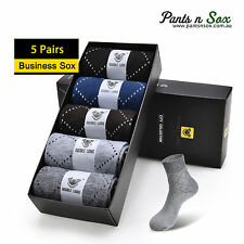 5 Pairs Summer Mens Business Crew Socks Cotton Socks Pattern Rhombus Summer Box