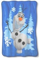 Disney Frozen Olaf Soft Silk Fleece Throw Blanket In Tote Bag *NWT* Blue 40x50in