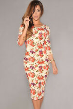 Womens cream floral print half sleeve midi dress bodycon celeb size 10 & 12