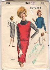 Weigel's Sewing Pattern 2370, Vintage 1960's Pinafore Shift and Blouse, Bust 33