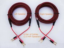 S03 (2m 6.5ft) --- Pair HIFI Audiophile Banana Speaker Cables 4x12awg Home Audio