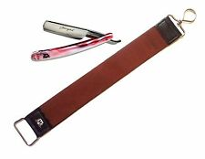 Barber Tan Leather Strop & Tortoise Straight Razor New