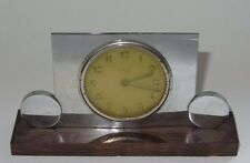 ANCIEN REVEIL ART DECO CHROME & BOIS 1930 - 1940 VINTAGE ALARM CLOCK