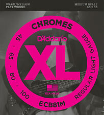 D'ADDARIO ECB81M CHROMES FLATWOUND BASS STRINGS, MEDIUM SCALE 4's - 45-100