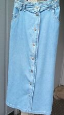 Carol Little Blue Denim Jean Maxi long pocket button Front Skirt 16 w
