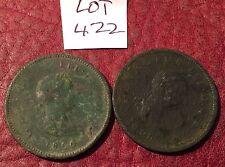 Deux antique 1806 george iii copper penny-job lot 422
