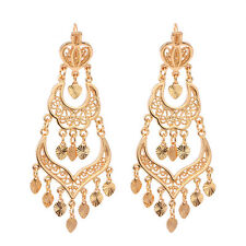 Women 18K Gold Plated Three Row Love Heart Chandelier Dangle Earrings Jewelry