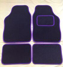 CAR FLOOR MATS FOR PEUGEOT 107 108 207 307 RCZ 2008 - BLACK WITH PURPLE TRIM