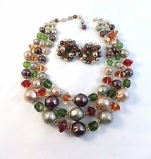 Vintage triple strand bed necklace & cluster earrings green coffee peach glass