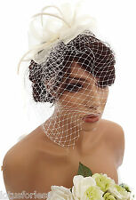 ELEGANT PANNA NET BOW Cerchietto Fascinator con Piuma hatinator WEDDING RAZZE Bridal