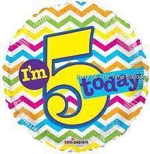 I'M 5 TODAY Mylar Happy Birthday Balloons 5th SET OF 2 17 Inch FREE SHIP