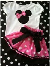 Baby Girls Short Sleeve Minnie Mouse T-shirt+ Dot Skirt Outfit fit 5-6Years b02