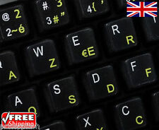 French English Black Keyboard Stickers with Yellow Letters Laptop Computer PC