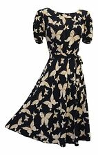 New Vintage Nostalgia 1930s 40s WW2 Style Wartime Blue Butterfly Tea dress UK 12