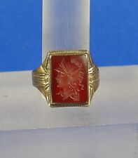 Roman style 10K Sterling Silver Ring Head of ROMA face L intaglio City State God
