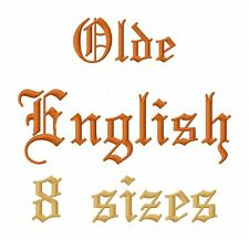 Olde English Font Machine Embroidery Designs on multi-formatted CD in 8 sizes