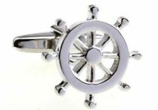 Sailor Wheel Boat Cufflinks Gift + Box & Cleaner