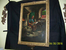 Antique Original Oil On Canvas Indoor Dutch Genre Painting