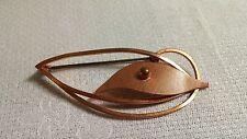 Vintage Textured Solid Copper Modernist Oval & Leaf Brooch Pin Germany