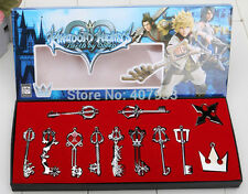 KINGDOM HEARTS 12pcs LLAVES METAL Hearts Cosplay Necklace Sora Keyblade