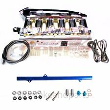 For Skyline RB25DET R32 R33 R34 Turbo Chrome intake Manifold Plenum+Fuel Rail