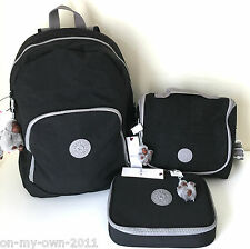 KIPLING CARMINE BACKPACK 100 PENS PENCIL CASE KICHIROU LUNCH BAG SCHOOL SET NWT