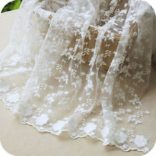 "Lace Fabric White Graceful Floral Wedding Bridal Dress 51"" width 1 yard"