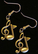 Treble Clef & Music Note Earrings Antiqued Brass Orchestra Symphony Band Singer
