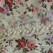 3 Yds VTG Style Embroidery scalloped  Fabric Crochet Mesh Net Lace Trim 6.2cm