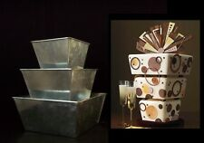 "Square Flower Pot Cake Tins -  3 Tier - 5"" Deep - On Sale !!"