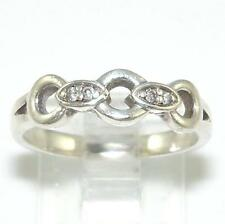Sterling Silver Diamond Link Ring Band Sz 6.5