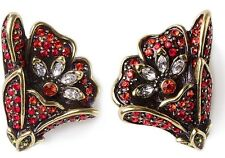 Heidi Daus Heavenly Bloom Crystal Earrings Clip RED SWAROVSKI LOVELY MUST!!