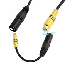 XLR 3-Pin Male to Single Phono RCA Female Coaxial Shield Cable Gold Plated 20cm