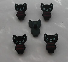 Black Cat With Red Stripe White Ears Eyes Mouth  Wooden Novelty Buttons X 5