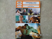 CARTE FICHE CINEMA 2008 L'INCROYABLE HULK Edward Norton Liv Tyler Tim Roth