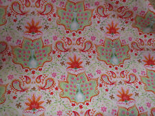 Peacocks with Tiny Details Cotton Fabric 1 Yard Season of Love by Blend