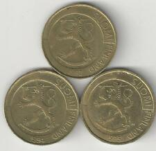 3 DIFFERENT 1 MARKKA COINS from FINLAND (1993, 1994 & 1995)