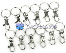 12Pcs Silver Metal Swivel Lobster Trigger Clips Hooks For Keychains Split Ring