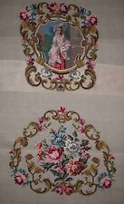 EP 4124 Vintage Medallion Back 2pc Chair Seat Set Preworked Needlepoint Canvas