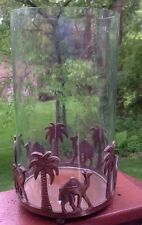 Camel And Palm Tree Metal Glass Votive Candle Holder Decorative Piece