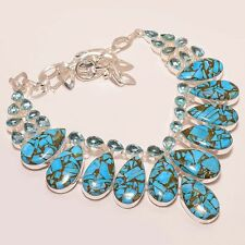 """BEAUTIFUL BLUE COPPER TURQUOISE WITH BLUE TOPAZ .925 SILVER  NECKLACE 18"""""""