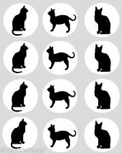 12 Black Cat CUPCAKE TOPPERS edible 40mm cake kitten decoration cats kittens