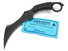TOPS Black Micarta TAC-TOPS KARAMBIT Straight Fixed Blade Knife + Sheath! TAC-01