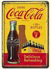 Coca- Cola In Bottles Yellow mini-sign / metal postcard   140mm x 100mm (na)