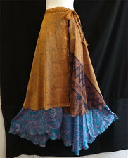 NEW Gypsy Hippie BOHO INDIAN RETRO PAISLEY SILK CASUAL 2 LAYERS LONG WRAP SKIRT